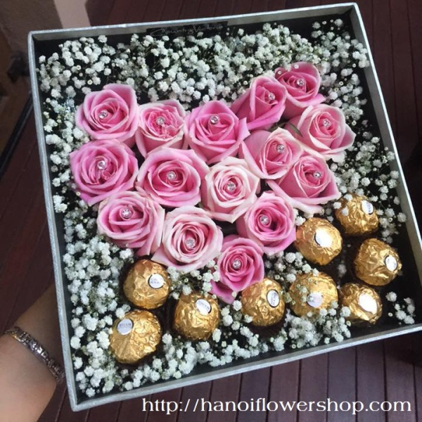 Box of roses and chocolate