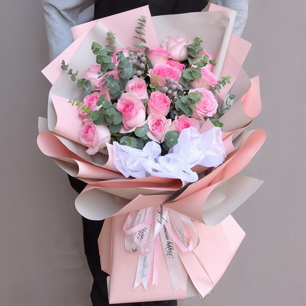 Pink rose bouquet delivered Hanoi